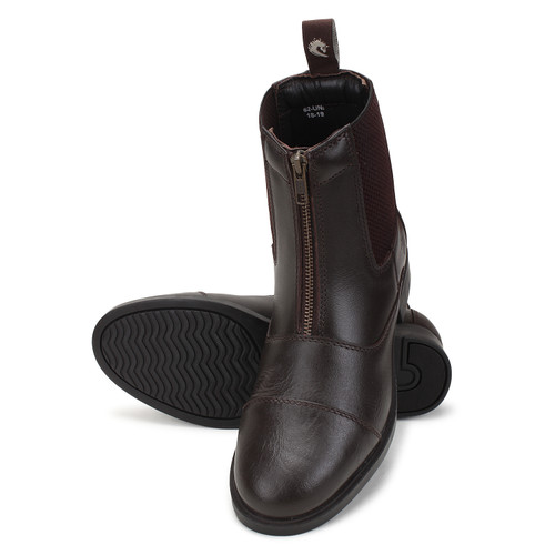 Genuine Leather Front Zip Riding Boots Dark Brown EU 38 ~ 42
