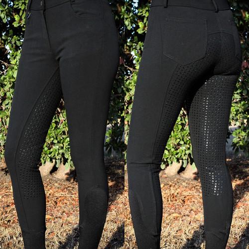Ladies Silicone Breeches Mid Waist Black