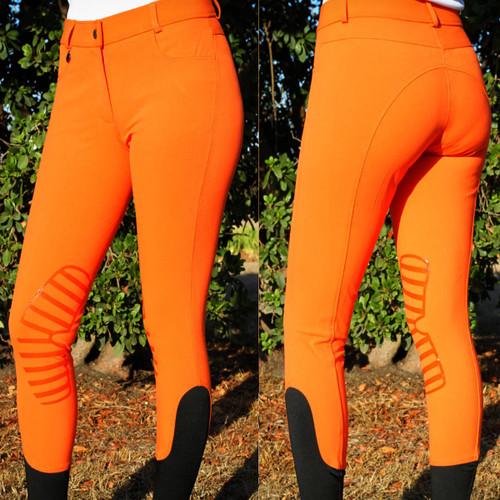 Ladies Silicone Patch Breeches Mid Waist Orange