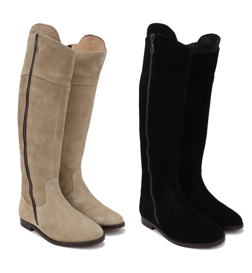 Unicorn Spanish Style Tall Boots Suede Leather Long Boots Beige Black
