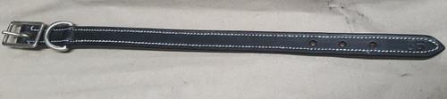 Dog Collar Leather Black Plain White Stitching