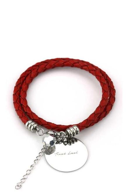 TREZO LAVI Live in the Moment Leather Bracelet in Red