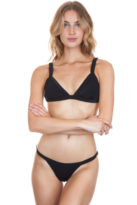 ISSA DE MAR Maile Top in Black Rib