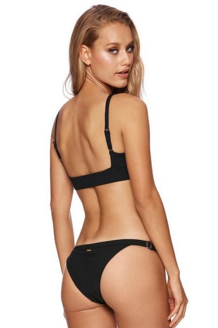 BEACH BUNNY Rib Skimpy Bottom in Black