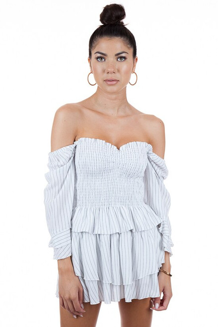 BLUE LIFE Perfect Skort in White and Black Pinstripe