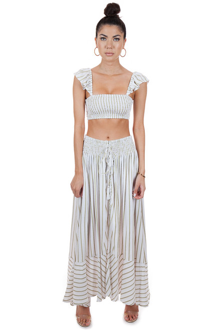 MILA THE LABEL Ibiza Maxi Skirt in Khaki Stripe