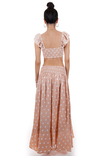 MILA THE LABEL Ibiza Maxi Skirt in Polka Dot Salmon