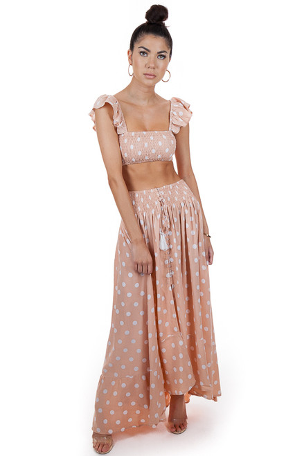 MILA THE LABEL Ibiza Crop Top in Polka Dot Salmon