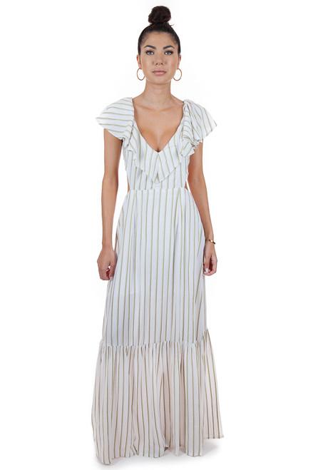 MILA THE LABEL Gaya Maxi Dress in Khaki Stripe