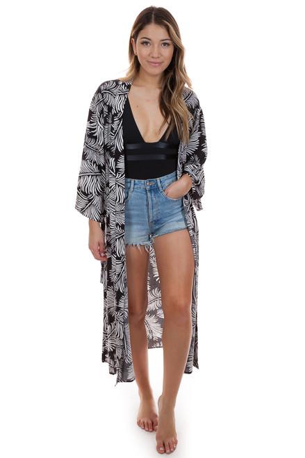 AMUSE SOCIETY Tropicana Kimono in Black