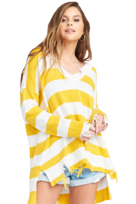 SHOW ME YOUR MUMU Delphina Distressed Sweater in Yellow Rugby Stripe