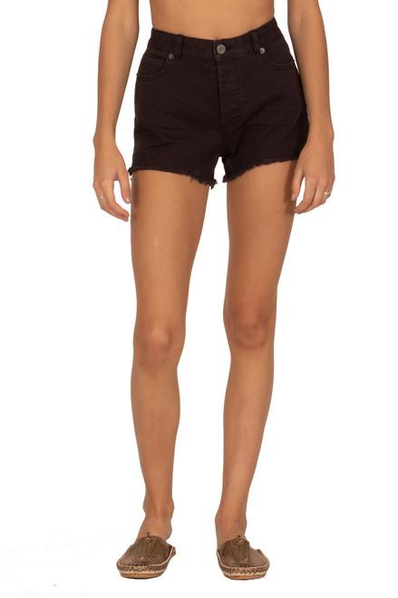 AMUSE SOCIETY Shoreline Denim Shorts in Off Black