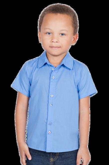 LONDONBERRY Hudson Short Sleeve Button Up Shirt in Blue