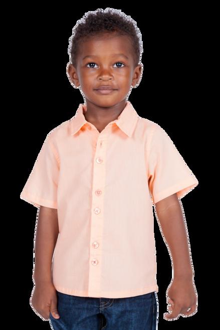 LONDONBERRY Hudson Short Sleeve Button Up Shirt in Peach
