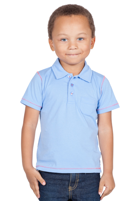 LONDONBERRY Rylee Short Sleeve Polo Shirt in Blue