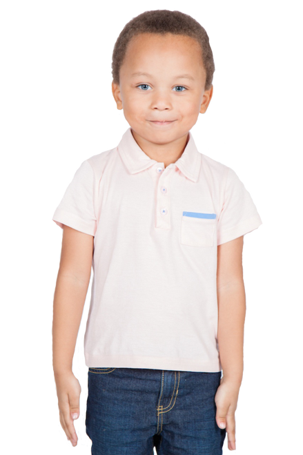 LONDONBERRY Emery Short Sleeve Polo Shirt in Pink