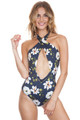 BEACH RIOT Paige One Piece in Navy Floral