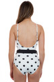 SOLID AND STRIPED Nina Belt One Piece in Cream Black Dot