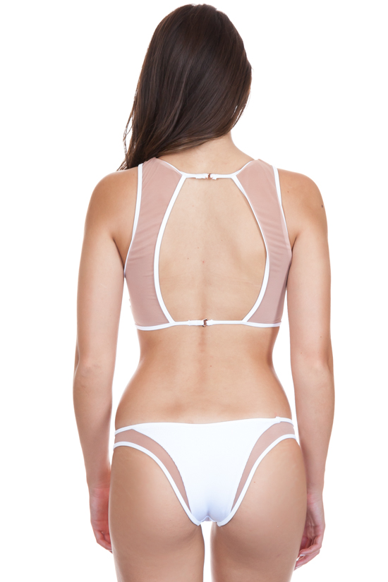 08a34be856662 TORI PRAVER Manon High Leg Cheeky Bottom in White - Vida Soleil