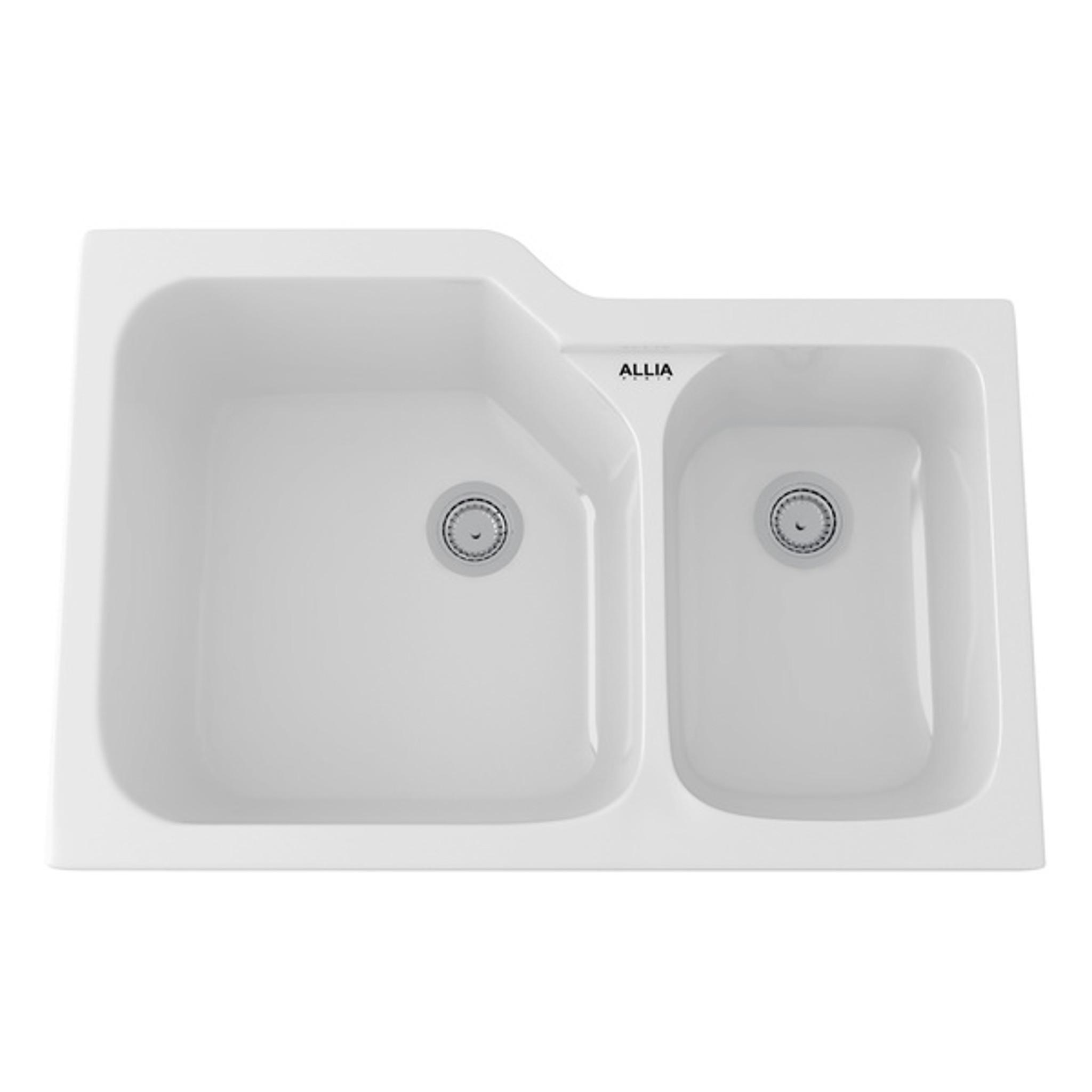 Rohl 6337 00 Allia Fireclay 2 Bowl Undermount Kitchen Sink White