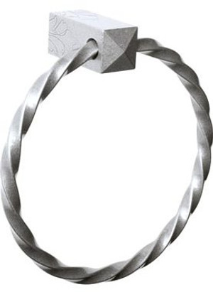 """Bouvet 6202-007 Square Towel Ring 6"""" With Out Rosette Black <br>(Shown In Pewter)"""
