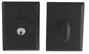 """Bouvet 8331-60-007 Dead Bolt Single Cylinder 2-3/8"""" Backset 1-3/4"""" Thick Door Black"""