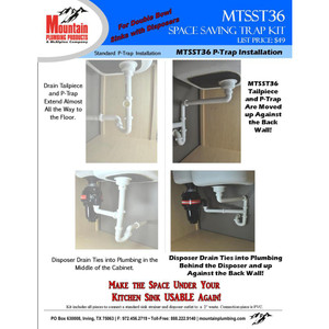 MOUNTAIN PLUMBING MTSST36 SPACE SAVING TRAP FOR DOUBLE BOWL SINK