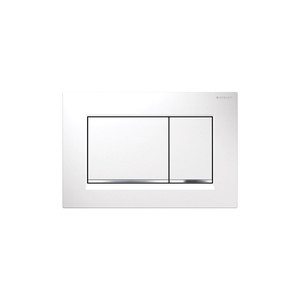 GEBERIT 115.883.KJ.1 SIGMA30 DUAL-FLUSH PLATES FOR SIGMA SERIES IN-WALL TOILET SYSTEMS WHITE WITH POLISHED CHROME ACCENT