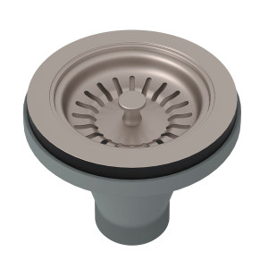 ROHL 735STN MANUAL BASKET STRAINER WITHOUT REMOTE POP-UP SATIN NICKEL