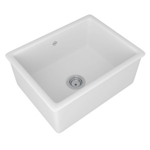 ROHL UM2318WH SHAWS CLASSIC SHAKER SINGLE BOWL INSET OR UNDERMOUNT FIRECLAY SECONDARY KITCHEN OR LAUNDRY SINK WHITE