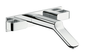 AXOR 11043001 AXOR URQUIOLA WALL-MOUNTED WIDESPREAD FAUCET TRIM WITH BASE PLATE, 1.2 GPM CHROME