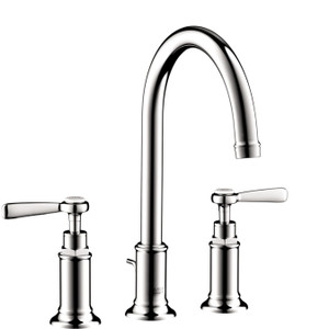 AXOR 16514001 AXOR MONTREUX WIDESPREAD FAUCET 180 WITH LEVER HANDLES AND POP-UP DRAIN, 1.2 GPM CHROME