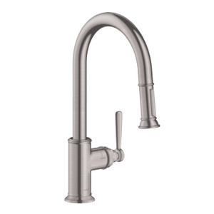 AXOR 16581801 AXOR MONTREUX HIGHARC KITCHEN FAUCET 2-SPRAY PULL-DOWN, 1.75 GPM STEEL OPTIC