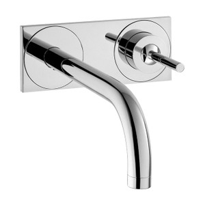 AXOR 38117001 AXOR UNO SINGLE LEVER BASIN MIXER FOR CONCEALED INSTALLATION WALL-MOUNTED WITH SPOUT AND PLATE CHROME