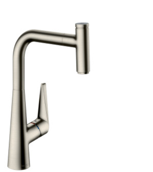 HANSGROHE 72821801 TALIS SELECT S SINGLE LEVER KITCHEN MIXER 300, PULL-OUT SPOUT, 1JET STEEL OPTIK