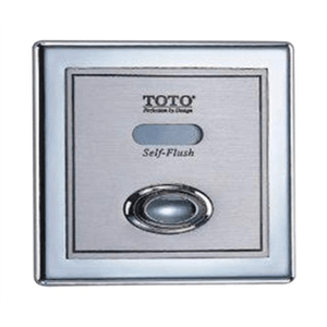 "TotoTET3DNS-33 BATTERY POWERED(6V DC) SENSOR TOILET FLUSH VALVE, CONCEALED (4"" X 4"") - 1.6 GPF SATIN FINISH"