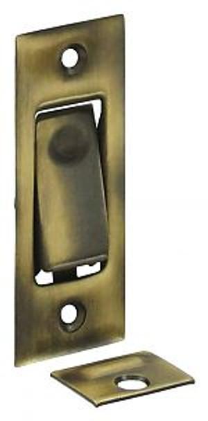 DELTANA PDB42U5 POCKET DOOR BOLT, JAMB BOLT ANTIQUE BRASS