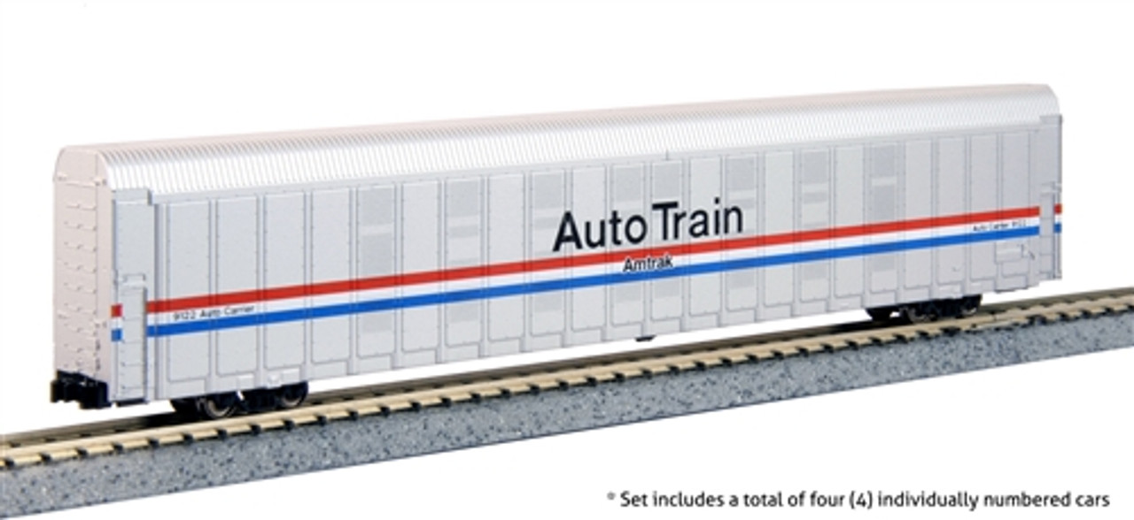 Kato N 106-5507 Autorack Amtrak Auto Train Phase III 4 Car Set #1