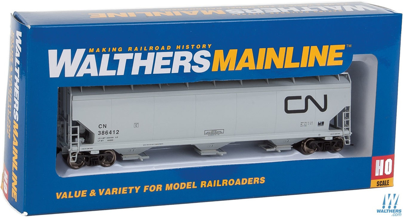 Walthers HO Scale 60 NSC 5150 3-Bay Covered Hopper Canadian National//CN #386445