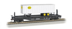 """Bachmann Silver Series HO Scale Ready to Run 52' 6"""" Flatcar with 35' Piggyback Trailer & E-Z Mate(R) Couplers, Road Name New York Central w/New York Central Trailer, NYC #499627"""