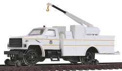 Bachmann HO Scale Ready to Run Maintenance of Way Hi-Rail Equipment Truck with Crane and has DCC on Board, Union Pacific Railroad (White, Yellow Strips)