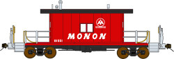 Bluford Shops N 23021 Ready to Run Steel Transfer Caboose w/Long Roof,  Monon #81552