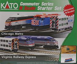 Kato N Scale Commuter Series Metra Starter Set, complete with Metra EMD F40PH  Diesel Locomotive & 3 Commuter Cars, Unitrak M1 Basic Oval (4.1/2ft x 2ft) & Kato Power Pack