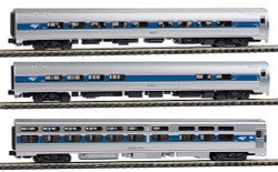 Kato N Scale RTR Amtrak Amfleet Viewliner Intercity Express Phase VI 3-Car Set. Comes in Book-style Case