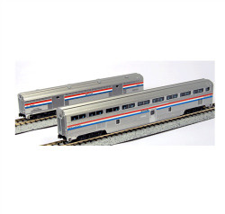 Kato N 106-7122 2-Car Set Step Down Coach and Baggage Car Amtrak Phase III