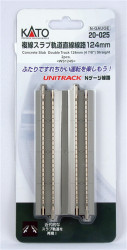 "Kato N 20-025 Unitrack Concrete Slab Double Track Straight 4 7/8"" 124mm 2 pieces"