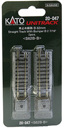 """Kato N 20-047 Unitrack Straight Track with Bumper 'B' 62mm 2 7/16"""" 2-Pack"""