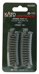 "Kato N 20-111 Unitrack Curved Track 282mm 11"" Radius - 15 degrees"