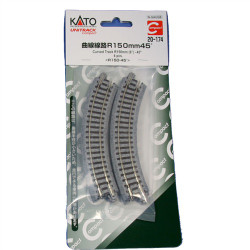 """Kato N 20-174 Unitrack Compact Curved Track 150mm  6"""" Radius - 45 degrees 4 pieces"""
