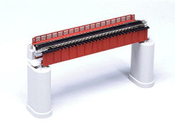 Kato N 20-460 Unitrack Single Track Deck Girder Bridge with Track Red 124mm (4 7/8) Piers not Included